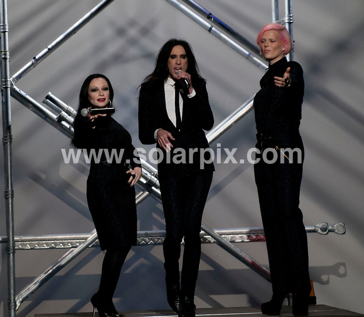 **ALL ROUND PICTURES FROM SOLARPIX.COM**                                             **WORLDWIDE SYNDICATION RIGHTS EXCEPT SPAIN - NO SYNDICATION IN SPAIN**                                                                                  Caption: Models on the Runway shows at The Mercedes Benz Fashion week in Madrid Spain                                                             This pic: David Delfin Show collection                                                                                             JOB REF: 14422       DMS/Espinola Photo      .DATE: 03.02.2012                                                           **MUST CREDIT SOLARPIX.COM OR DOUBLE FEE WILL BE CHARGED**                                                                      **MUST AGREE FEE BEFORE ONLINE USAGE**                               **CALL US ON: +34 952 811 768 or LOW RATE FROM UK 0844 617 7637**