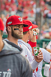 7 October 2016: Washington Nationals outfielder Bryce Harper looks out from the dugout prior to the first game of the NLDS against the Los Angeles Dodgers at Nationals Park in Washington, DC. The Dodgers edged out the Nationals 4-3 to take the opening game of their best-of-five series. Mandatory Credit: Ed Wolfstein Photo *** RAW (NEF) Image File Available ***