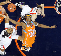 CHARLOTTESVILLE, VA- NOVEMBER 20: Glory Johnson #25 of the Tennessee Lady Volunteers reaches for the rebound next to Jazmin Pitts #21 of the Virginia Cavaliers and Lexie Gerson #14 of the Virginia Cavaliers during the game on November 20, 2011 at the John Paul Jones Arena in Charlottesville, Virginia. Virginia defeated Tennessee in overtime 69-64. (Photo by Andrew Shurtleff/Getty Images) *** Local Caption *** Jazmin Pitts;Lexie Gerson;Glory Johnson