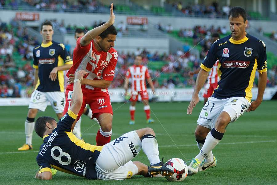 Nick MONTGOMERY of the Mariners controls the ball in the round two match between Melbourne Heart and the Central Coast Mariners in the Australian Hyundai A-League 2013-24 season at AAMI Park, Melbourne, Australia.<br /> This image is not for sale. Please visit zumapress.com for image licensing.