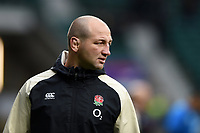 England Rugby Assistant Coach Steve Borthwick looks on during the pre-match warm-up. Guinness Six Nations match between England and Scotland on March 16, 2019 at Twickenham Stadium in London, England. Photo by: Patrick Khachfe / Onside Images