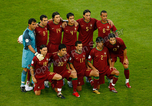 Jul 8, 2006; Stuttgart, GERMANY; The starting eleven for Portugal prior to the match for third place against Germany in the 2006 FIFA World Cup at Gottlieb-Daimler-Stadion, Stuttgart. Front row: midfielder (18) Maniche, midfielder (20) Deco, forward (11) Simao Sabrosa, defender (2) Paulo Ferreira and forward (17) Cristiano Ronaldo. Back row: goalkeeper (1) Ricardo, forward (9) Pauleta, defender (14) Nuno Valente, defender (4) Ricardo Costa, defender (5) Fernando Meira and midfielder (6) Costinha. Germany defeated Portugal 3-1. Mandatory Credit: Ron Scheffler-US PRESSWIRE Copyright © Ron Scheffler.