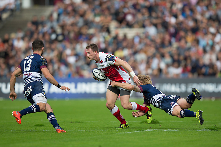 Ulster&rsquo;s Craig Gilroy is tackled by Bordeaux-Begles&rsquo; Blair Connor<br /> <br /> Photographer Craig Mercer/CameraSport<br /> <br /> European Rugby Champions Cup Pool 5 - Bordeaux-Begles and Ulster Rugby - Sunday 16th October 2016 - Stade Chaban-Delmas - Bordeaux, France<br /> <br /> World Copyright &copy; 2016 CameraSport. All rights reserved. 43 Linden Ave. Countesthorpe. Leicester. England. LE8 5PG - Tel: +44 (0) 116 277 4147 - admin@camerasport.com - www.camerasport.com