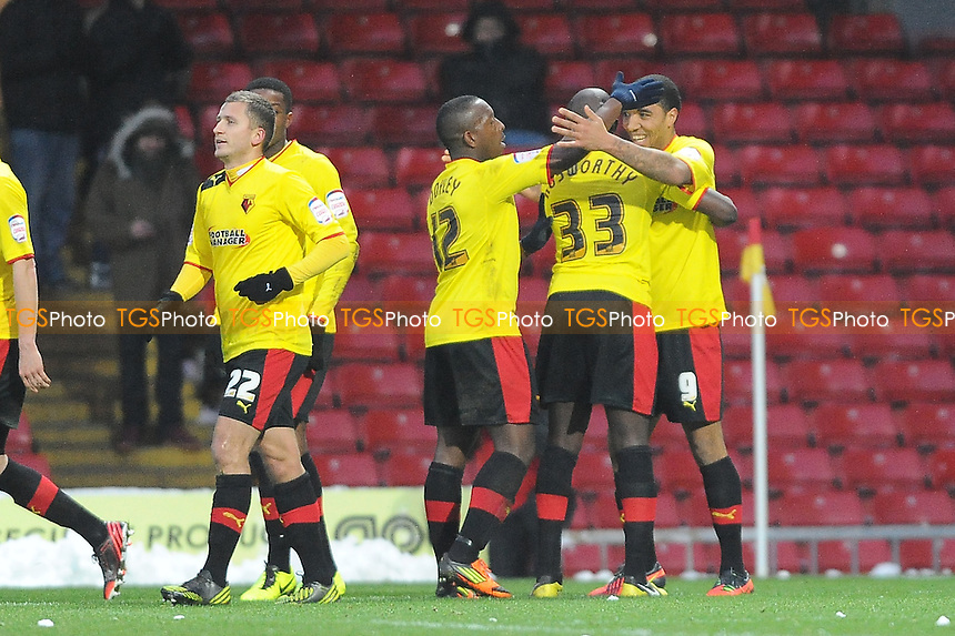 Troy Deeney of Watford celebrates scoring from the spot - Watford vs Huddersfield Town - NPower Championship Football at Vicarage Road Stadium, Watford - 19/01/13 - MANDATORY CREDIT: Anne-Marie Sanderson/TGSPHOTO - Self billing applies where appropriate - 0845 094 6026 - contact@tgsphoto.co.uk - NO UNPAID USE.