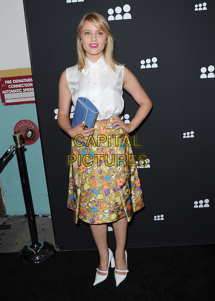 Dianna Agron<br /> The Myspace Event held at The El Rey Theatre in Los Angeles, California, USA.<br /> June 12th, 2013   <br /> full length sleeveless hand o hip blue clutch bag white shirt blouse green orange floral print skirt <br /> CAP/DVS<br /> &copy;DVS/Capital Pictures