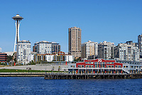 Waterfront, Seattle, Washington State, USA, skyscrapers, skyline, Space Needle, waterfront, 200809060963.<br />