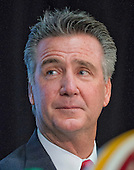 Washington Redskins general manager Bruce Allen introduces Jay Gruden (not pictured) as the new head coach of the Washington Redskins at a press conference at Redskins Park in Ashburn, Virginia on Thursday, January 9, 2014<br /> Credit: Ron Sachs / CNP