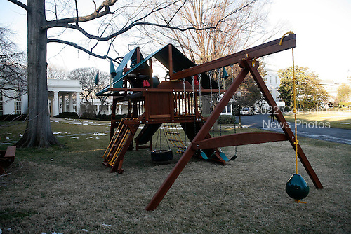 Washington, DC - March 4, 2009 - A new swing set/play set has been installed on the South Lawn of the White House near the Oval Office area. .Credit: Dennis Brack - Pool via CNP