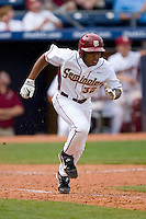 Sherman Johnson #32 of the Florida State Seminoles hustles down the first base line versus the Georgia Tech Yellow Jackets at Durham Bulls Athletic Park May 23, 2009 in Durham, North Carolina.  (Photo by Brian Westerholt / Four Seam Images)