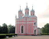 St. Petersburg, Russia - August 14, 2009 -- Chesmensky Church (also known as Chesma Church) in St. Petersburg, Russia on Friday, August 14, 2009.  It is pink and white and is built in the Gothic style..Credit: Ron Sachs / CNP