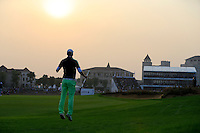 Marcel Siem (GER) prepares to play his 2nd shot on the 18th hole during Sunday's Final Round of the 2014 BMW Masters held at Lake Malaren, Shanghai, China. 2nd November 2014.<br /> Picture: Eoin Clarke www.golffile.ie