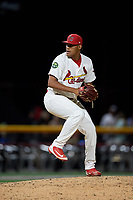 Johnson City Cardinals relief pitcher Enrique Perez (39) delivers a pitch during a game against the Danville Braves on July 28, 2018 at TVA Credit Union Ballpark in Johnson City, Tennessee.  Danville defeated Johnson City 7-4.  (Mike Janes/Four Seam Images)