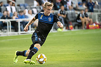 SAN JOSE, CA - SEPTEMBER 25: Tommy Thompson #22 of the San Jose Earthquakes during a game between Philadelphia Union and San Jose Earthquakes at Avaya Stadium on September 25, 2019 in San Jose, California.
