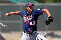 Minnesota Twins Ricardo Arevalo #23 during minor league spring training game against the Boston Red Sox at the Lee County Sports Complex on March 26, 2012 in Fort Myers, Florida.  (Mike Janes/Four Seam Images)