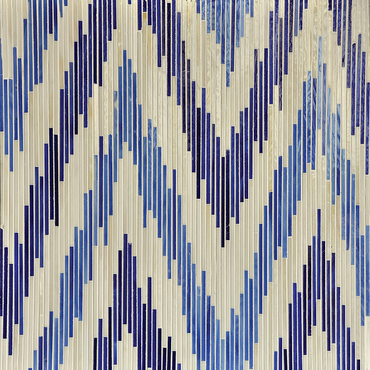 Pamir, a handmade jewel glass mosaic shown in Quartz, Iolite and Lapis Lazuli, is part of the Ikat Collection by Sara Baldwin for New Ravenna.