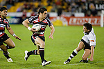 Chad Tuoro leaves the Bay defender wrong footed as he crosses the 22 on his way to scoring a try. Air New Zealand Cup rugby game between Counties Manukau Steelers & Hawkes Bay, played at Mt Smart Stadium on the 23rd of August 2007. Hawkes Bay won 38 - 14.