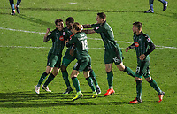 Celebrations as Nathan Blissett (2nd left) of Plymouth Argyle equalises during the Sky Bet League 2 match between Wycombe Wanderers and Plymouth Argyle at Adams Park, High Wycombe, England on 14 March 2017. Photo by Andy Rowland / PRiME Media Images.