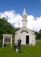 The Dog Chapel was built in 1999 by artist Stephen Huneck on Dog Mountain in Saint Johnsbury Vermont.
