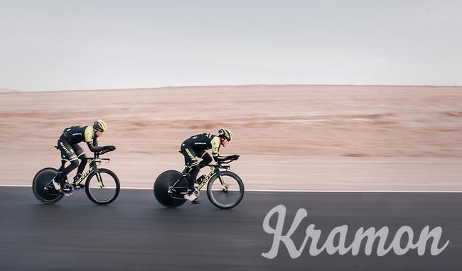 TTT training with Matteo Trentin (ITA/Michelton-Scott) leading the way ahead of Mathew Hayman (AUS/Michelton-Scott)<br /> <br /> Michelton-Scott training camp in Almeria, Spain<br /> february 2018