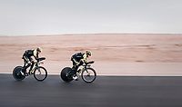 TTT training with Matteo Trentin (ITA/Michelton-Scott) leading the way ahead of Mathew Hayman (AUS/Michelton-Scott)<br /> <br /> Michelton-Scott training camp in Almeria, Spain<br /> february 2018