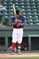 Third baseman Frankie Rios (12) of the Greenville Drive bats in a game against the Augusta GreenJackets on Wednesday, April 25, 2018, at Fluor Field at the West End in Greenville, South Carolina. Augusta won, 9-2. (Tom Priddy/Four Seam Images)