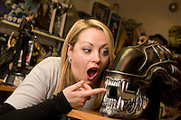 Jo Knight of The Monster Store, on Derby Road, Nottingham tests out the teeth on an 'Alien'