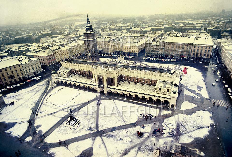 Poland, January 1977 - The main square and market of Krakow.