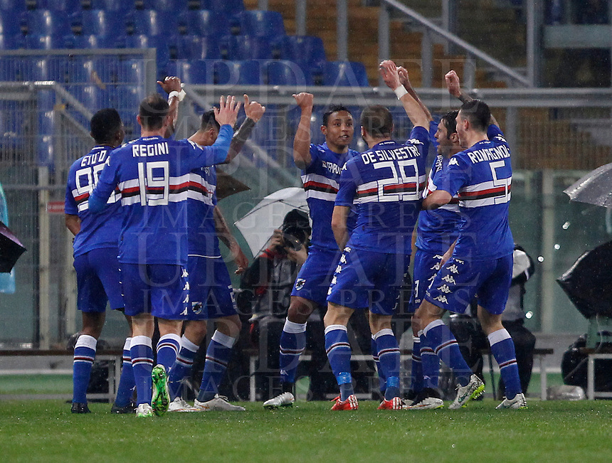 Calcio, Serie A: Roma vs Sampdoria. Roma, stadio Olimpico, 16 marzo 2015. <br /> Sampdoria&rsquo;s Luis Muriel, center, celebrates with teammates after scoring during the Italian Serie A football match between Roma and Sampdoria at Rome's Olympic stadium, 16 March 2015.<br /> UPDATE IMAGES PRESS/Isabella Bonotto
