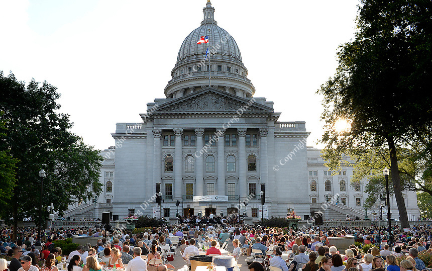 The Wisconsin Chamber Orchestra kicks off its 35th season of Concerts on the Square, conducted by Andrew Sewell, at the State Capitol Square on Wednesday, 6/27/18, in Madison