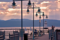 Burlington, VT Lighthouse. Lake Champlain is the next largest lake after the Great Lakes.  It is 115 miles long, 15 miles wide and about 400 feet deep.  Upstate NY and the Adirondacks borders the west and Vermont and the Green Mountains borders the east.  The lake runs into Canada.  The US Navy was born on LC at Whitehall NY.