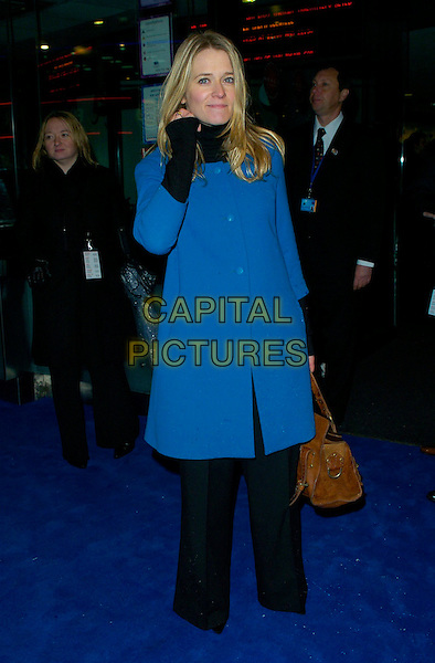 "EDITH BOWMAN.attends the World Premiere of ""Hot Fuzz"" .held at the Vue West End, London, England, .February 13, 2007..full length blue coat black trousers polo neck brown bag.CAP/CAN.©Can Nguyen/Capital Pictures"