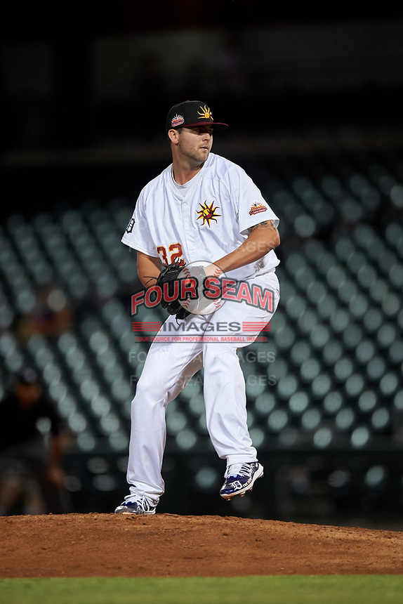 "Mesa Solar Sox Alex Lange (32), of the Detroit Tigers organization, delivers a pitch during an Arizona Fall League game against the Peoria Javelinas on September 21, 2019 at Sloan Park in Mesa, Arizona. Lange wore customized cleats painted with ""For Numi"" to honor his late teammate Chace Numata who passed on September 2, 2019. Mesa defeated Peoria 4-1. (Zachary Lucy/Four Seam Images)"