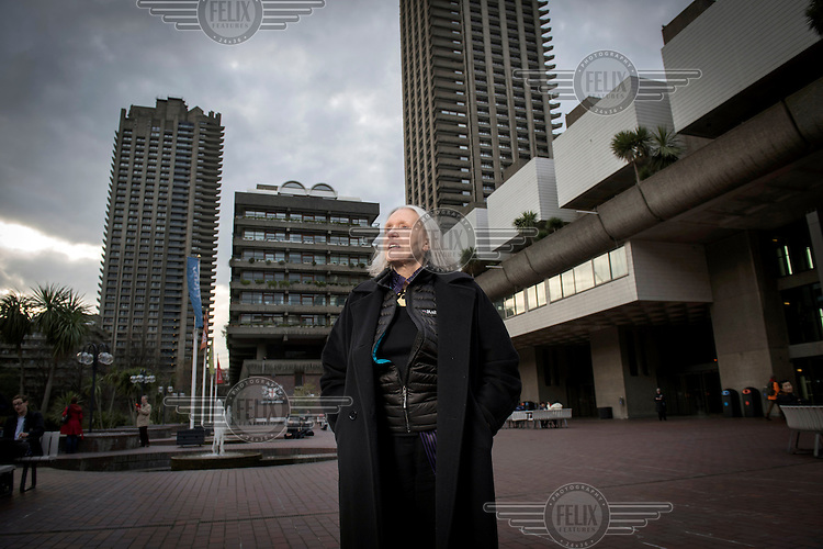 Renowned economist and city-sociologist, Saskia Sassen, at the Barbican Centre in the City of London.