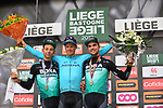 Jakob Fuglsang (DEN) Astana Pro Team wins the 105th edition of Li&egrave;ge-Bastogne-Li&egrave;ge 2019, La Doyenne, with Davide Formolo (ITA) Bora-Hansgrohe 2nd and team mate Maximilian Schachmann (GER) 3rd place, running 256km from Liege to Liege, Belgium. 28th April 2019<br /> Picture: ASO/Gautier Demouveaux | Cyclefile<br /> All photos usage must carry mandatory copyright credit (&copy; Cyclefile | ASO/Gautier Demouveaux)