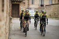Team Mitchelton Scott women's team at race reconnaissance 1 day prior to the 13th Strade Bianche 2019 (1.UWT)<br /> <br /> ©kramon