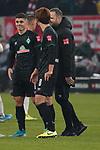 18.01.2020, Merkur Spielarena, Duesseldorf , GER, 1. FBL,  Fortuna Duesseldorf vs. SV Werder Bremen,<br />  <br /> DFL regulations prohibit any use of photographs as image sequences and/or quasi-video<br /> <br /> im Bild / picture shows: <br /> Milot Rashica (Werder Bremen #7),  freut sich verhalten ueber den Sieg mit Yuya Osako (Werder Bremen #8), <br /> <br /> Foto © nordphoto / Meuter
