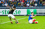 Solna 2014-07-24 Fotboll Europa League AIK - Linfield FC :  <br /> AIK:s Kennedy Igboananike dribblar f&ouml;rbi en Linfieldf&ouml;rsvarare innan han g&ouml;r 1-0<br /> (Foto: Kenta J&ouml;nsson) Nyckelord:  AIK Gnaget Friends Arena Linfield LFC Europa League Kval