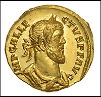 BNPS.co.uk (01202 558833)<br /> Pic: DNW/BNPS<br /> <br /> The coin bears the head of self proclaimed Emperor Allectus.<br /> <br /> Primus Brexitus! - £100,000 gold coin from the first British exit from Europe discovered near Dover<br /> <br /> A lucky detectorist has struck gold after finding <br /> a stunning Roman Aureus of self proclaimed Emperor Allectus, who briefly ruled an independent Britain after it broke away from the Roman Empire in the late 3rd century AD.<br /> <br /> The detectorist found the coin last month near an old Roman road from the seaside town and after notifying the British museum it can now be sold.<br /> <br /> The incredibly well preserved coin is in mint condition looking as fresh as it did when lost over 1700 years ago.