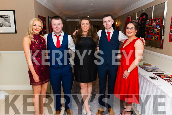 l-r Gemma Linehan, Gavin Downey, Joan Ann Kelleher, Patrick O'Flynn and Caroline O'Keeffe all from Banteer pictured at the Banteer Macra 50th Anniversary in the Heights Hotel, Killarney last Saturday night.