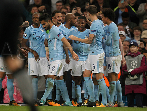 26th September 2017, Etihad Stadium, Manchester, England; UEFA Champions League football, Manchester City versus Shakhtar Donetsk;  Raheem Sterling of Manchester City celebrates with his team mates after he scores a second goal to put them 2-0 ahead in the 90th minute