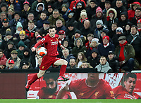 24th February 2020; Anfield, Liverpool, Merseyside, England; English Premier League Football, Liverpool versus West Ham United; Andy Robertson of Liverpool controls the ball  close to the left touchline