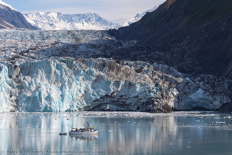 M/V Discovery, Cascade glacier and icebergs floating in Barry Arm, Chugach National Forest, Prince William Sound, southcentral, Alaska.