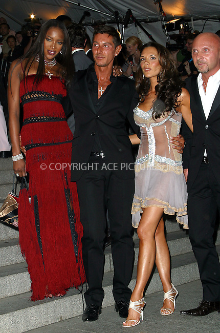 """Naomi Campbell, Stefano Gabbana, Victoria Beckham and Domenico Dolce attend the Costume Institute Gala, """"Goddess"""" at Metropolitan Museum or Art. New Yor, April 28, 2003. Please byline: Alecsey Boldeskul/NY Photo Press.   ..*PAY-PER-USE*      ....NY Photo Press:  ..phone (646) 267-6913;   ..e-mail: info@nyphotopress.com"""