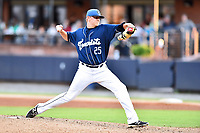 Asheville Tourists starting pitcher Will Gaddis (25) delivers a pitch during game two of a double header against the Columbia Fireflies at McCormick Field on August 4, 2018 in Asheville, North Carolina. The Tourists defeated the Fireflies 8-0. (Tony Farlow/Four Seam Images)