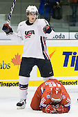 James van Riemsdyk (USA - 12), Maxim Mamin (Russia - 15) - Team Russia defeated Team USA 4-2 on Saturday, January 5, 2008, at CEZ Arena in Pardubice, Czech Republic, to win the bronze at the 2008 World Juniors Championship.