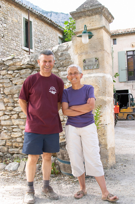 Guilhem Bruguière with his wife Isabelle Domaine Mas Bruguiere. Pic St Loup. Languedoc. The gate. Owner winemaker. France. Europe.