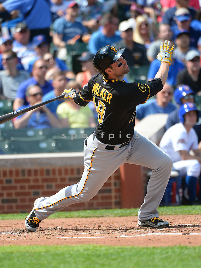 Pittsburgh Pirates Neil Walker (18) during a game against the Chicago Cubs on September 5, 2014, at Wrigley Field in Chicago, IL. The Pirates beat the Cubs 5-3.