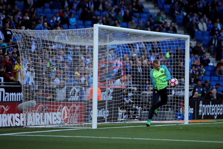 League Santander 2016/2017. Game: 35.<br /> RCD Espanyol vs FC Barcelona: 0-3.<br /> Cillessen.