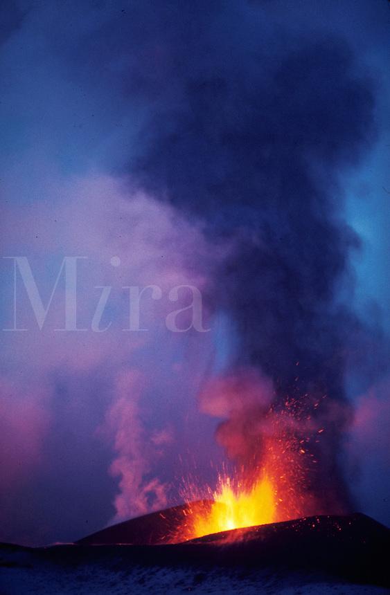 Erupting volcano. Iceland.