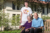Occidental College student Brady Fuller '15 photographed for a profile with his grandparents, Eleanor Fuller '55 and John S. Fuller '56, Sept. 28, 2012. (Photo by Marc Campos, Occidental College Photographer)